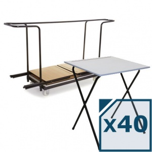 Mogo 40 Folding Exam Desks + Trolley
