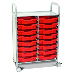 Callero Plus Double Trolley + 16 Shallow Trays