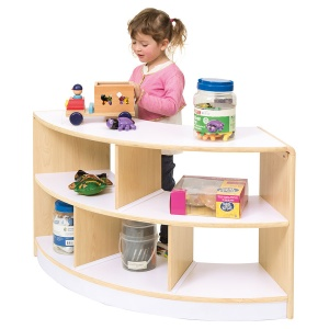 Alps Open Back 2 Shelf Curved Classroom Unit
