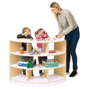 Alps Open Back 3 Shelf Curved Classroom Unit