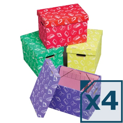 Class Store Range Handy Archive Storage Boxes (Pack of 4)