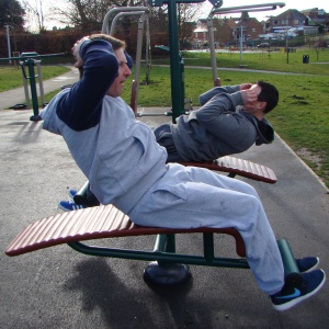 Outdoor Gym Double Sit-Up Bench
