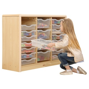 Elegant Classroom Cabinet (16 Small & 4 Large Trays)