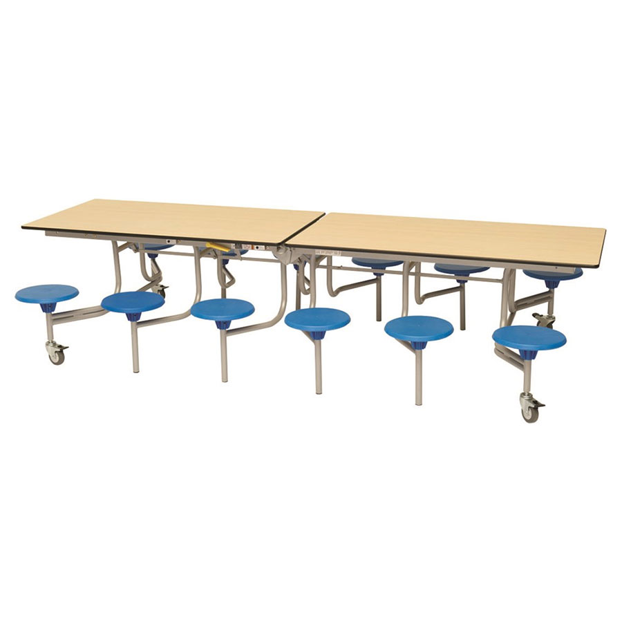 12 Seat Rectangular Mobile Folding Table - Stools