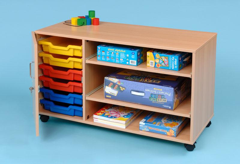 6 shallow door and 2 shelf tray storage unit. Black Bedroom Furniture Sets. Home Design Ideas