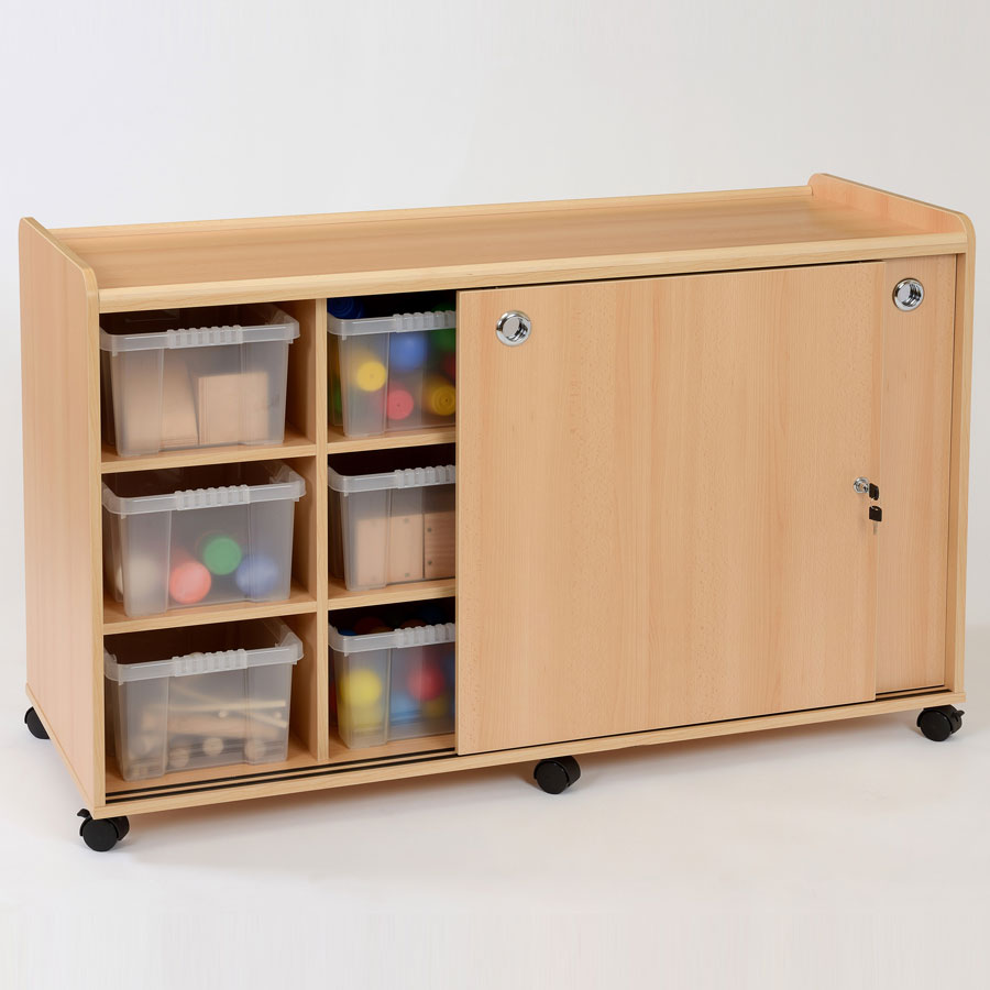 12 Deep Clear Tray Classroom Storage + Sliding Doors