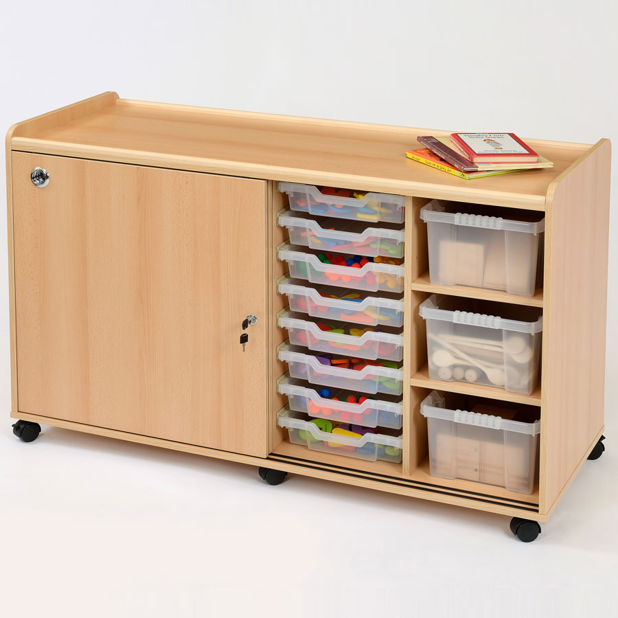16 Shallow / 6 Deep Clear Tray Classroom Storage + Doors