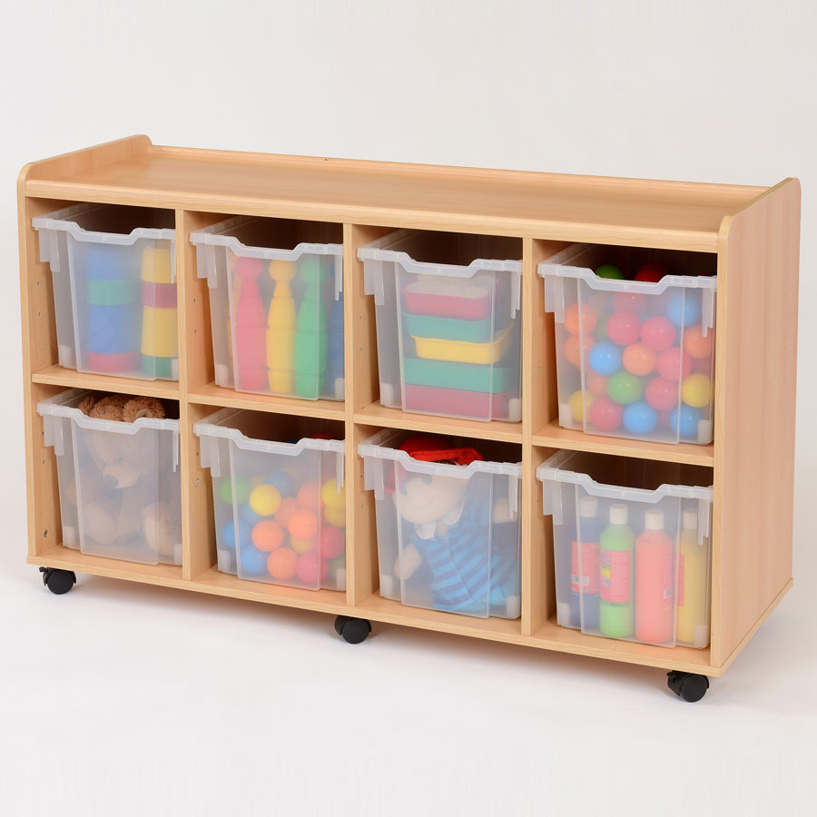 8 Jumbo Clear Tray Classroom Storage