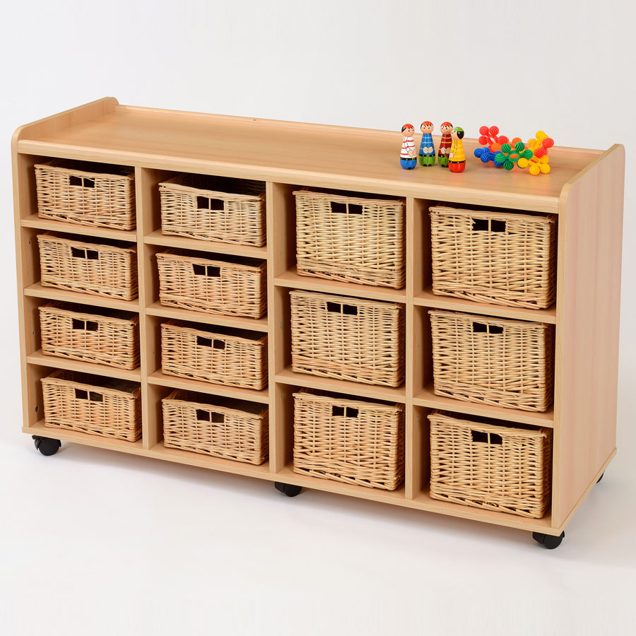 8 Shallow 6 Deep Wicker Basket Flexi Storage Unit