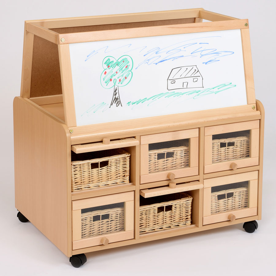 Double Sided Nursery Resource Unit + Doors, Easel & Baskets