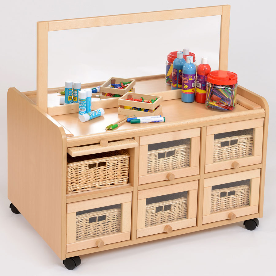 Double Sided Nursery Resource Unit + Doors, Mirror & Baskets
