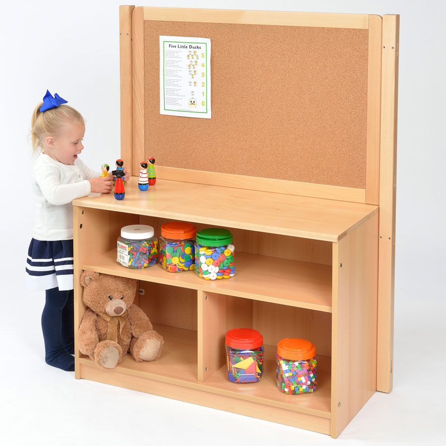 Room Scene - Open Bookcase Room Divider With Solid Back + Cork Board