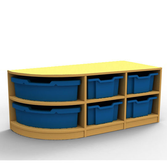 ''Curve'' Double Left-Hand Corner Storage (2 Trays High)