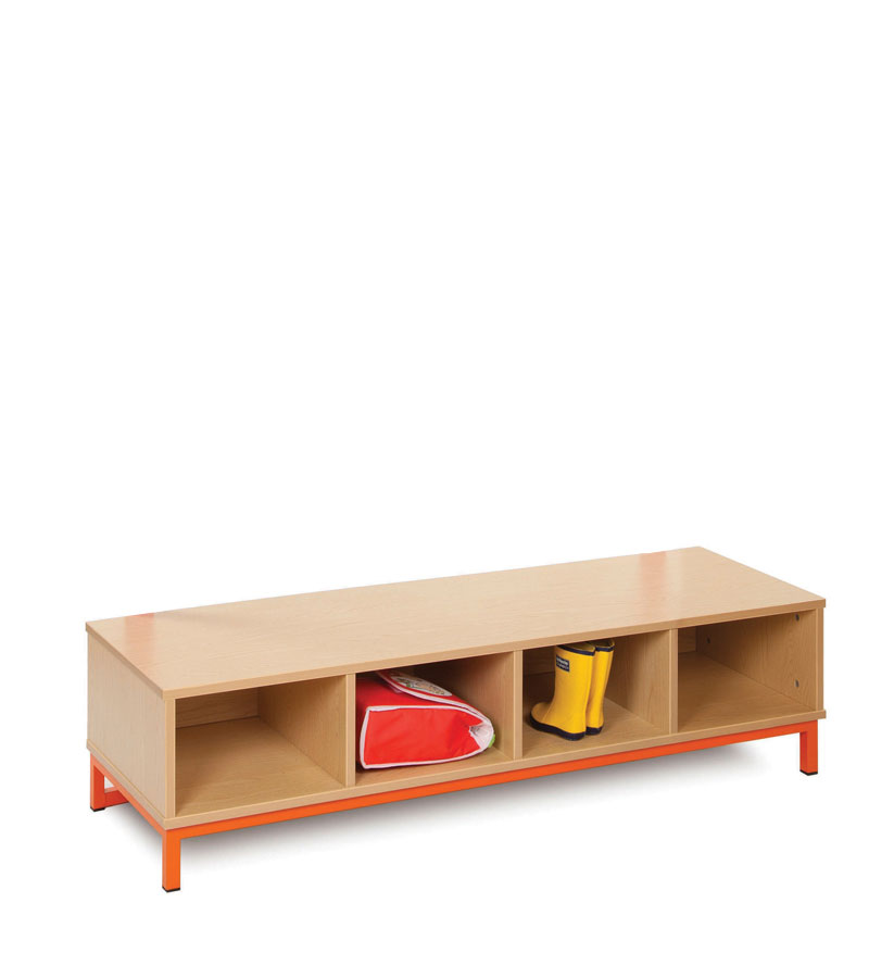 CLK006 Bubblegum Cloakroom Base With 4 Open Compartments