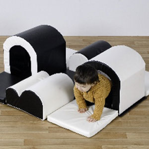 Toddler ''Tunnels & Bumps'' Black & White Soft Blocks