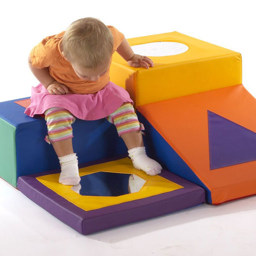 Children's Soft-Block Playring Mirror Trail - Multicolour