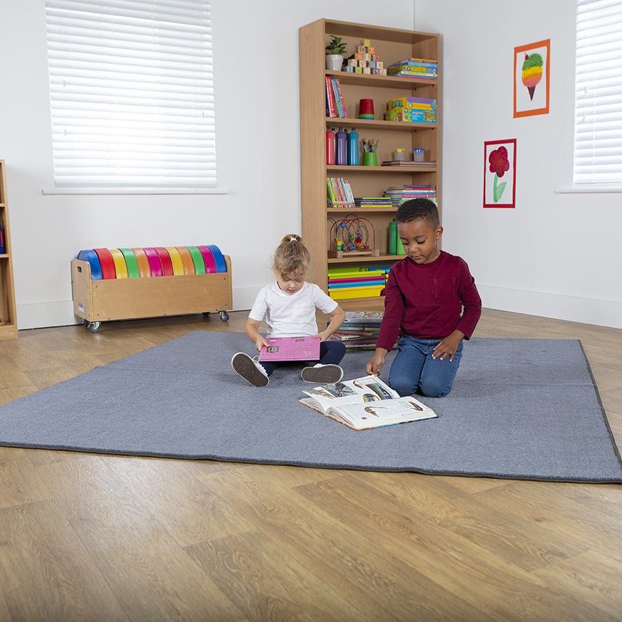 Plain Colour Square Classroom Carpet - Grey