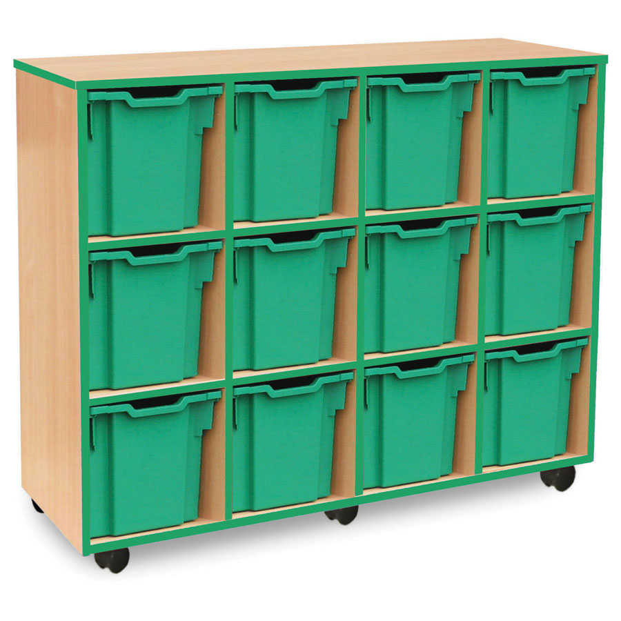 12 Jumbo Green Tray Store with Green Edging