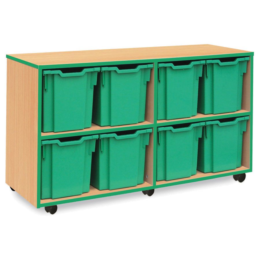 8 Jumbo Green Tray Store with Green Edging