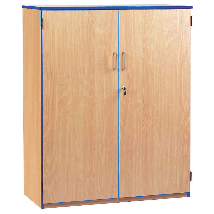 Lockable Cupboard with 3 Shelves & Blue Edging (1250H)
