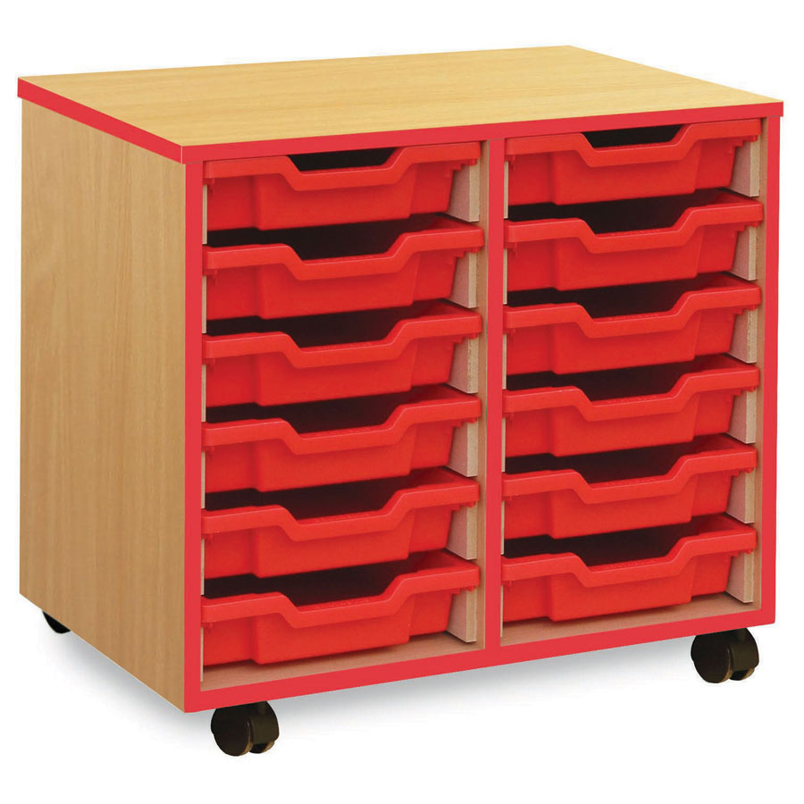 12 Shallow Red Tray Store with Red Edging
