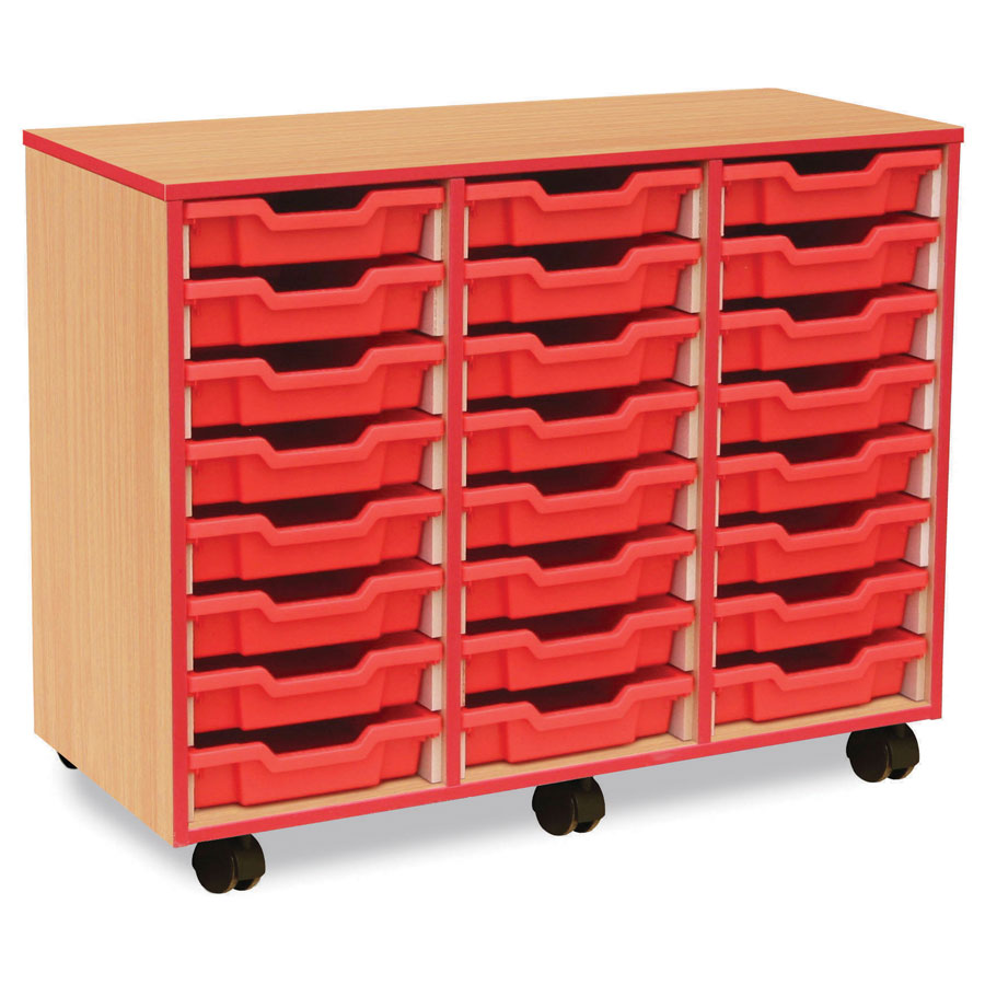 24 Shallow Red Tray Store with Red Edging
