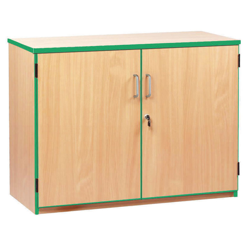 Lockable Cupboard with 2 Shelves & Green Edging (750H)