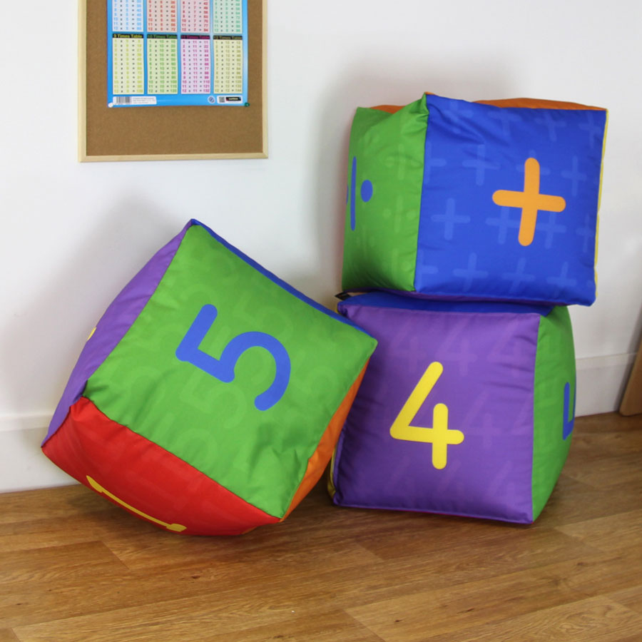 Primary Maths Cube Bean Bag - Pack of 3