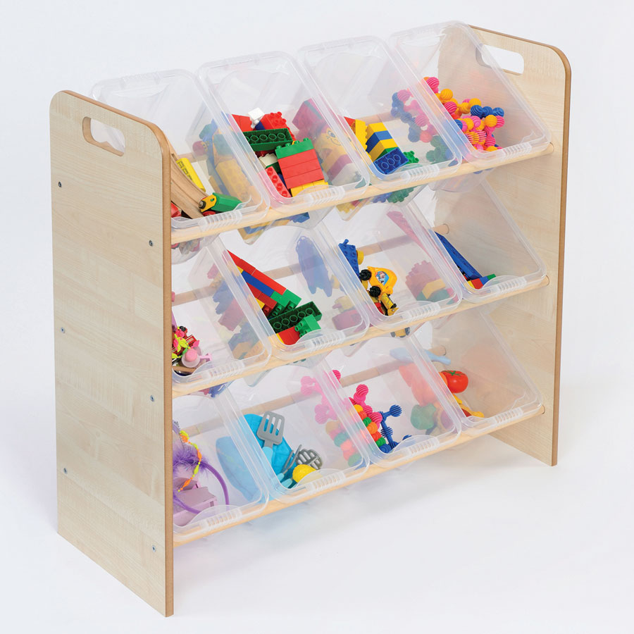 Single Sided Classroom Tidy + 12 Clear Trays