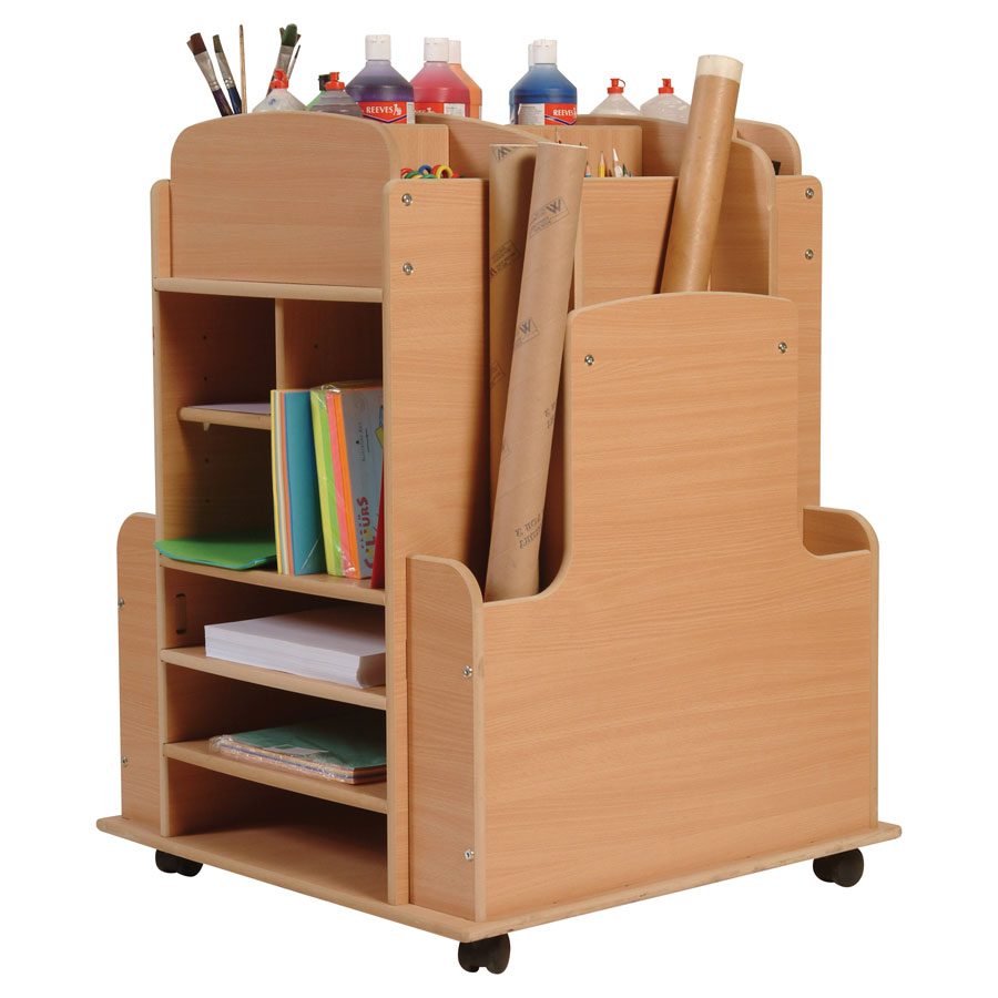 Large Wooden Arts Storage Trolley