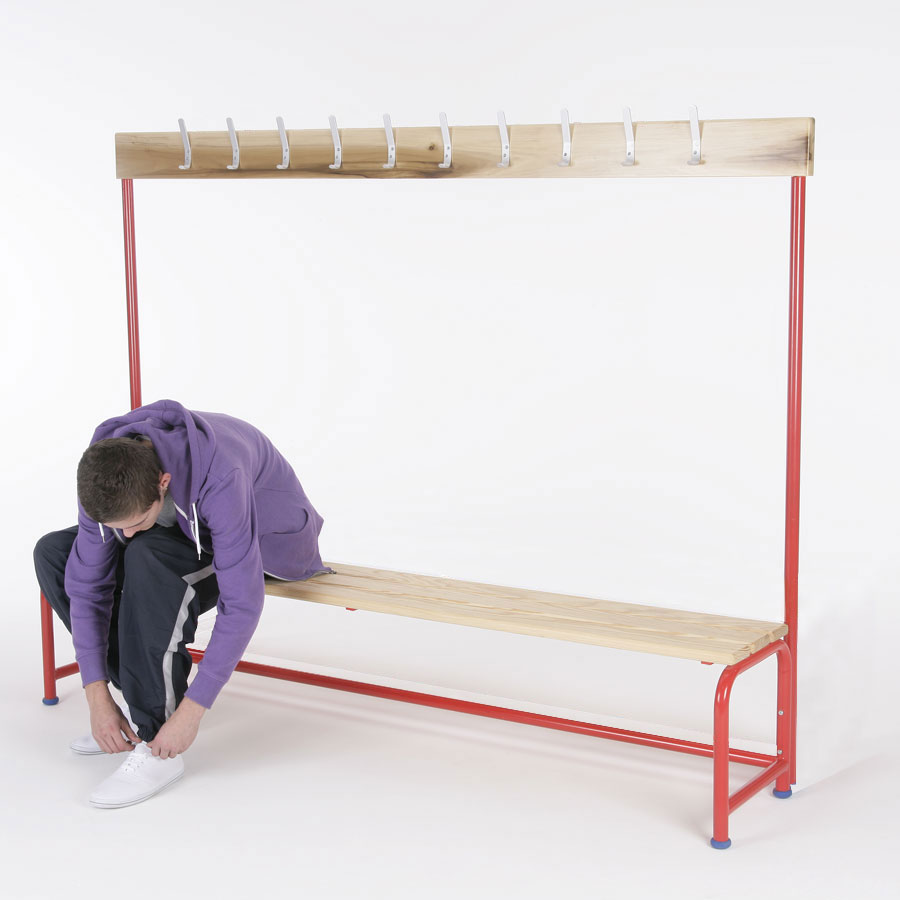 School Changing Room Single Bench + Coatrail