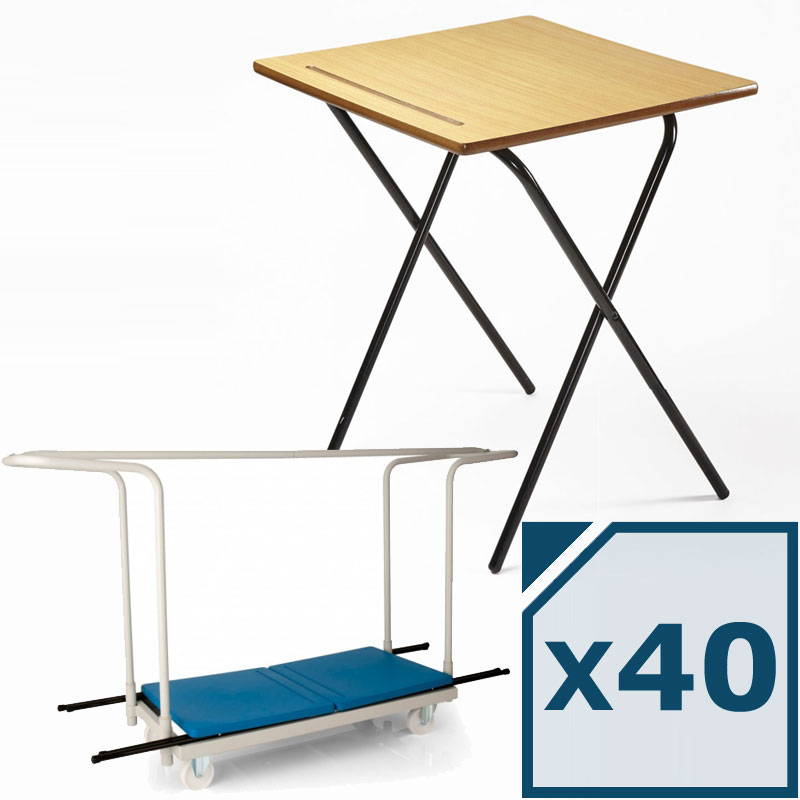 40 Titan MDF Folding Exam Desk + Trolley Package