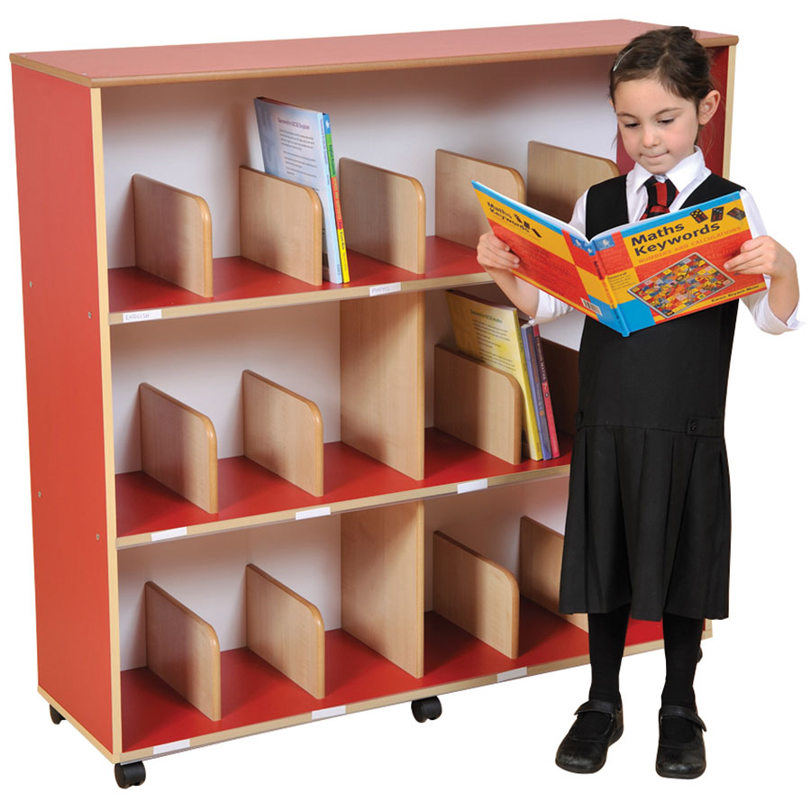 Primary Colours Childrens Bookcase + Drywipe Back