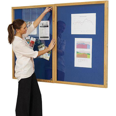 Wooden Lockable Premier Felt School Noticeboard