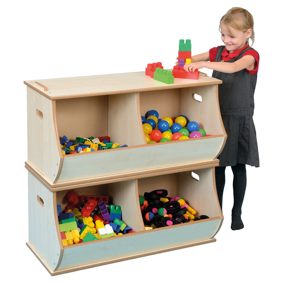 Wooden Stackable Storage Box - Double